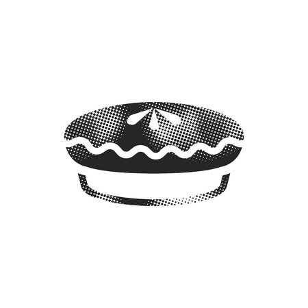 Cake icon in halftone style. Black and white monochrome vector illustration.