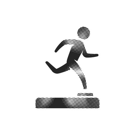 Baseball trophy icon in halftone style. Black and white monochrome vector illustration. Illustration