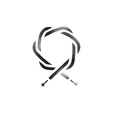 Bicycle cable icon in halftone style. Black and white monochrome vector illustration.