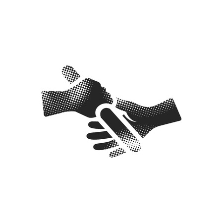 Relay run icon in halftone style. Black and white monochrome vector illustration.