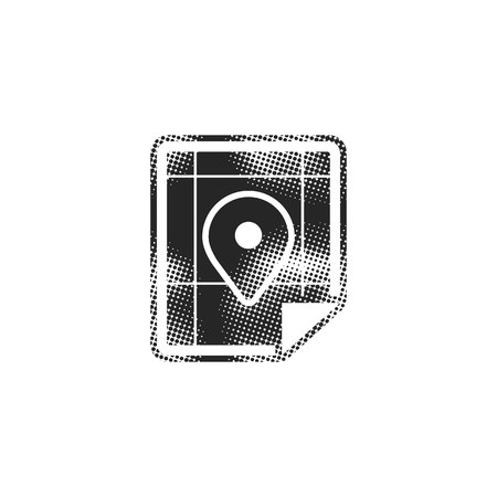 Map icon in halftone style. Black and white monochrome vector illustration. 向量圖像