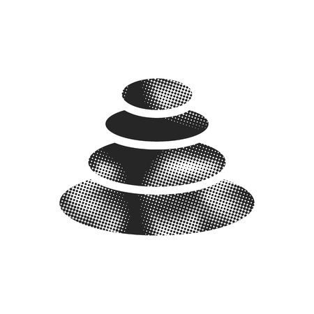 Stacked stone icon in halftone style. Black and white monochrome vector illustration.