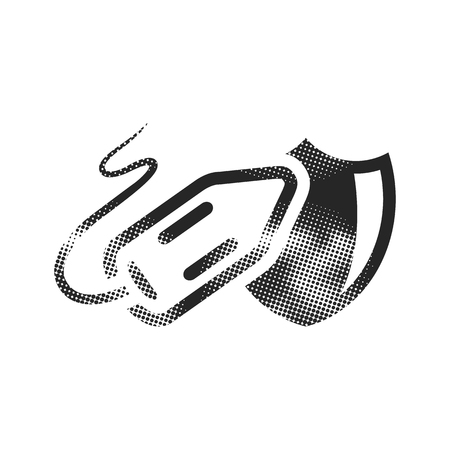 Lifeguard rescue icon in halftone style. Black and white monochrome vector illustration. Vectores