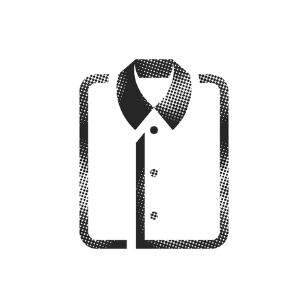 Folded shirt icon in halftone style. Black and white monochrome vector illustration.