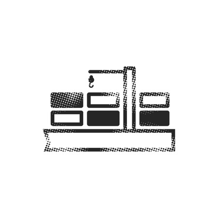 Container shipping  icon in halftone style. Black and white monochrome vector illustration.