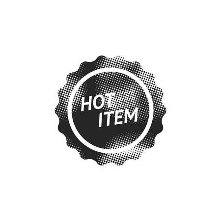 Hot item label icon in halftone style. Black and white monochrome vector illustration.