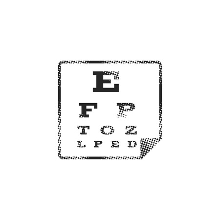 Eye test page icon in halftone style. Black and white monochrome vector illustration. Illustration