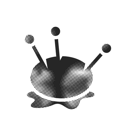 Pincushion icon in halftone style. Black and white monochrome vector illustration. Illustration