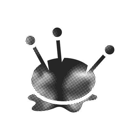 Pincushion icon in halftone style. Black and white monochrome vector illustration. Illusztráció