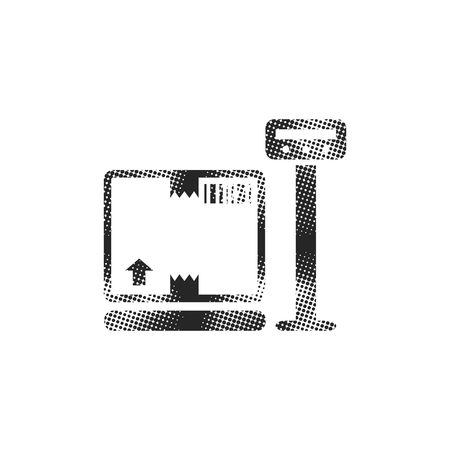 Logistic scale icon in halftone style. Black and white monochrome vector illustration. 向量圖像