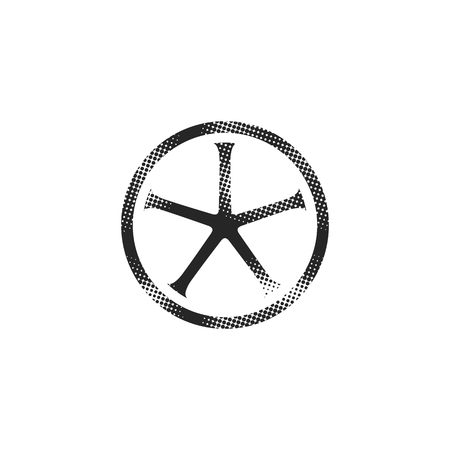 Bicycle wheel icon in halftone style. Black and white monochrome vector illustration. Stock Illustratie