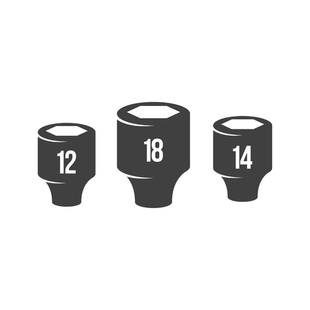 Socket wrench icons in black and white. Automotive vehicle maintenance service. Vector illustrations. Illusztráció