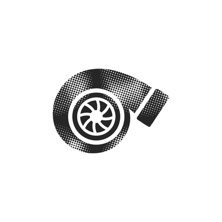 Turbo charger icon in halftone style. Black and white monochrome vector illustration. Illustration