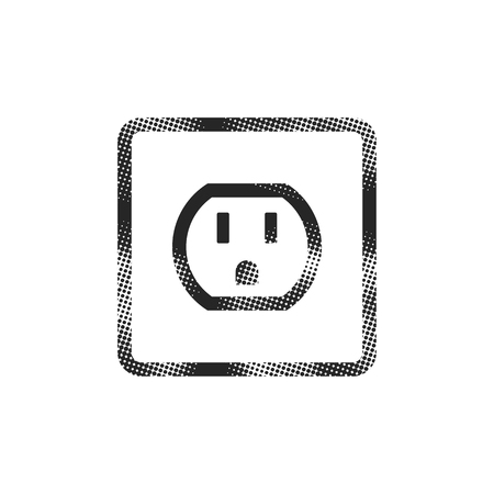 Electrical outlet icon in halftone style. Black and white monochrome vector illustration. Illustration
