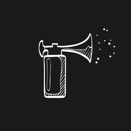 Gas horn in doodle sketch lines. Alarm loud pneumatic high pressure