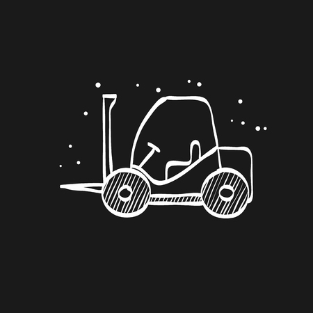 Forklift icon in doodle sketch lines. Industrial vehicle work warehouse shipping inventory