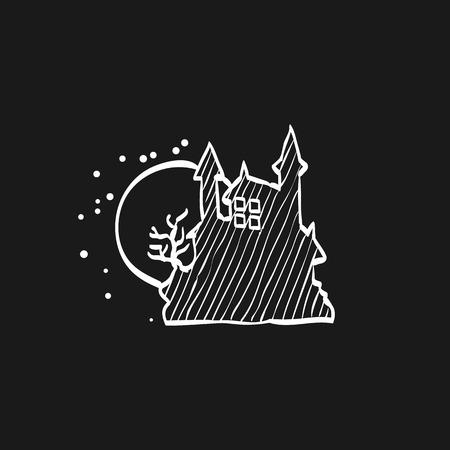 Dark castle icon in doodle sketch lines. Halloween symbol path moon building spooky fear