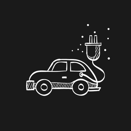 Electric car icon in doodle sketch lines. Vehicle, environment Ilustración de vector