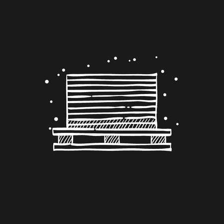 Printing stack icon in doodle sketch lines. Print shop service publisher desktop publishing