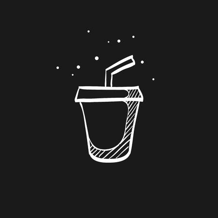 Fast food icon in doodle sketch lines. Junk food soft drink cola high sugar Illustration