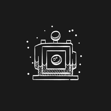 Large format camera icon in doodle sketch lines. View field sheet film photography lens