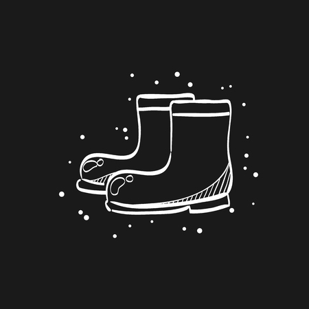 Wet boots icon in doodle sketch lines. Rain season weather protection Illustration