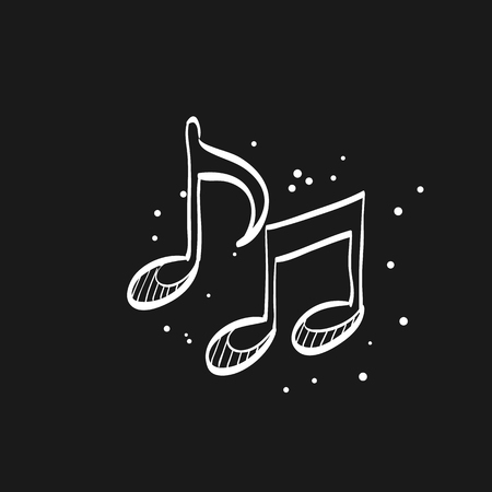 Music notes icon in doodle sketch lines. Musical sheets sign crotchets quaver Vectores