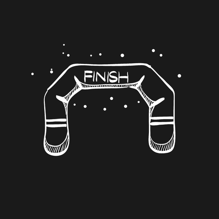 Finish line icon in doodle sketch lines. Air tube inflatable Illustration