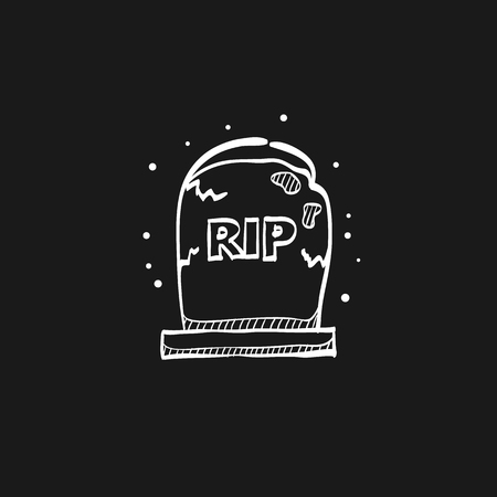 Icona di pietra tombale in linee di schizzo di doodle. Monumento morto Halloween spettrale