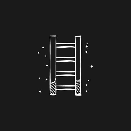 Ladder icon in doodle sketch lines.  イラスト・ベクター素材