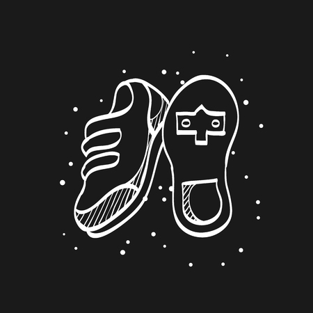 Cycling shoe icon in doodle sketch lines. Sport road race time trial foot pedal clip less cleat Stock Illustratie