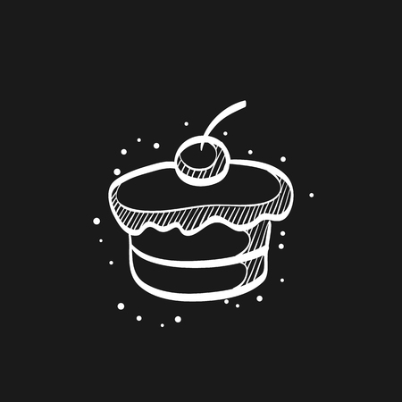 Cake icon in doodle sketch lines. Food sweet delicious glazed chocolate dessert