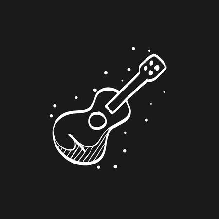 Guitar icon in doodle sketch lines. Music instrument string sound Illusztráció
