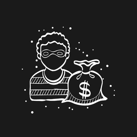 Burglar icon in doodle sketch lines. People person thief steal money sack dollar sign