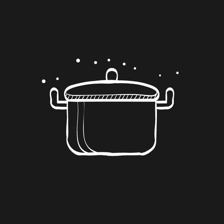 Cooking pan icon in doodle sketch lines. Food restaurant chef utensil boiling hot saucepan Illustration