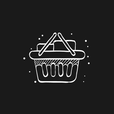 Shopping basket icon in doodle sketch lines. Buying, ecommerce
