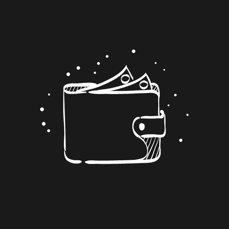 Wallet icon in doodle sketch lines. Money case cash shopping finance banking