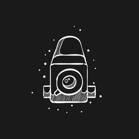 Camera icon in doodle sketch lines. Vintage retro photography photo mechanical analog film shooting medium format Çizim