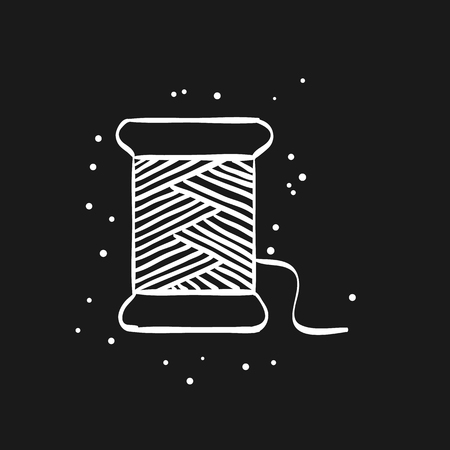 Yarn icon in doodle sketch lines. Sewing tailor dressmaker