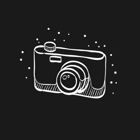 Camera icon in doodle sketch lines. Digital photography snapshot