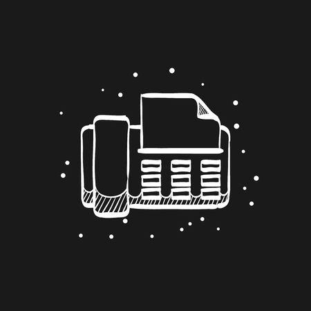 Facsimile icon in doodle sketch lines. Office electrical machine equipment fax copy print  イラスト・ベクター素材
