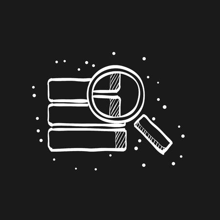 Icône de recherche de base de données dans les lignes de croquis de doodle. Recherche du centre de données du serveur de fichiers Hardisk Vecteurs