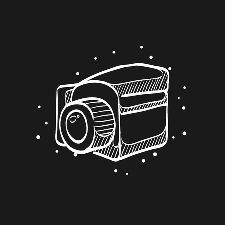 Camera icon in doodle sketch lines. Vintage retro photography photo mechanical analog film shooting medium format Vectores