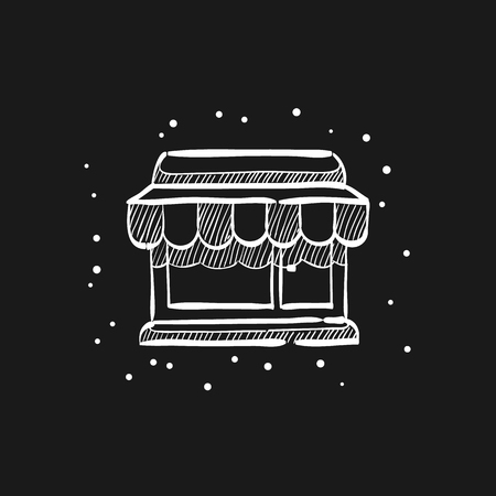 Shop icon in doodle sketch lines. Buying ecommerce market retail store