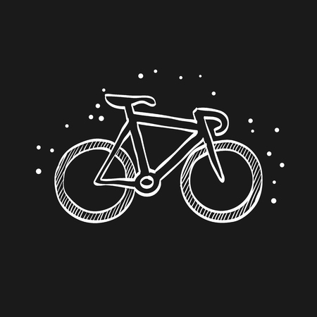 Track bike icon in doodle sketch lines. Bicycle racing road velodrome sport competition
