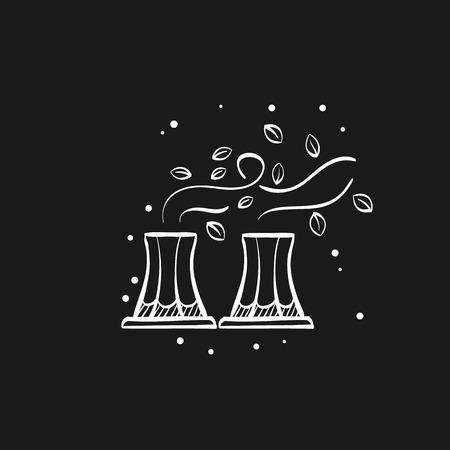 Planta nuclear con icono de hojas en líneas de dibujo de doodle. Sea ecológico, respetuoso con el medio ambiente