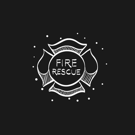 Firefighter emblem icon in doodle sketch lines. Service fireman coat of arms