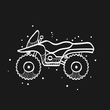 All terrain vehicle icon in doodle sketch lines. Rally offroad desert extreme sport outdoor Ilustración de vector