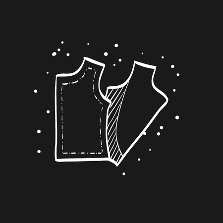 Sewing pattern icon in doodle sketch lines. Fashion tailor dressmaker industry