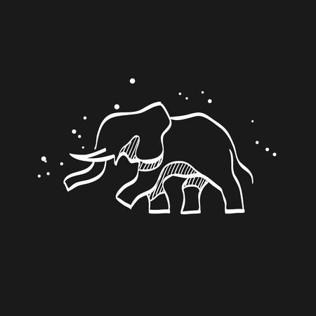 Elephant icon in doodle sketch lines. Mammal zoo animal family jungle safari Illustration